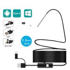 USB Эндоскоп 3 в 1 3.9мм HD 720p 3.5м полужесткий