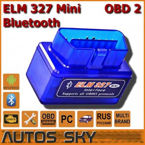 Адаптер ELM327 OBDII Bluetooth Super Mini для Android, PC